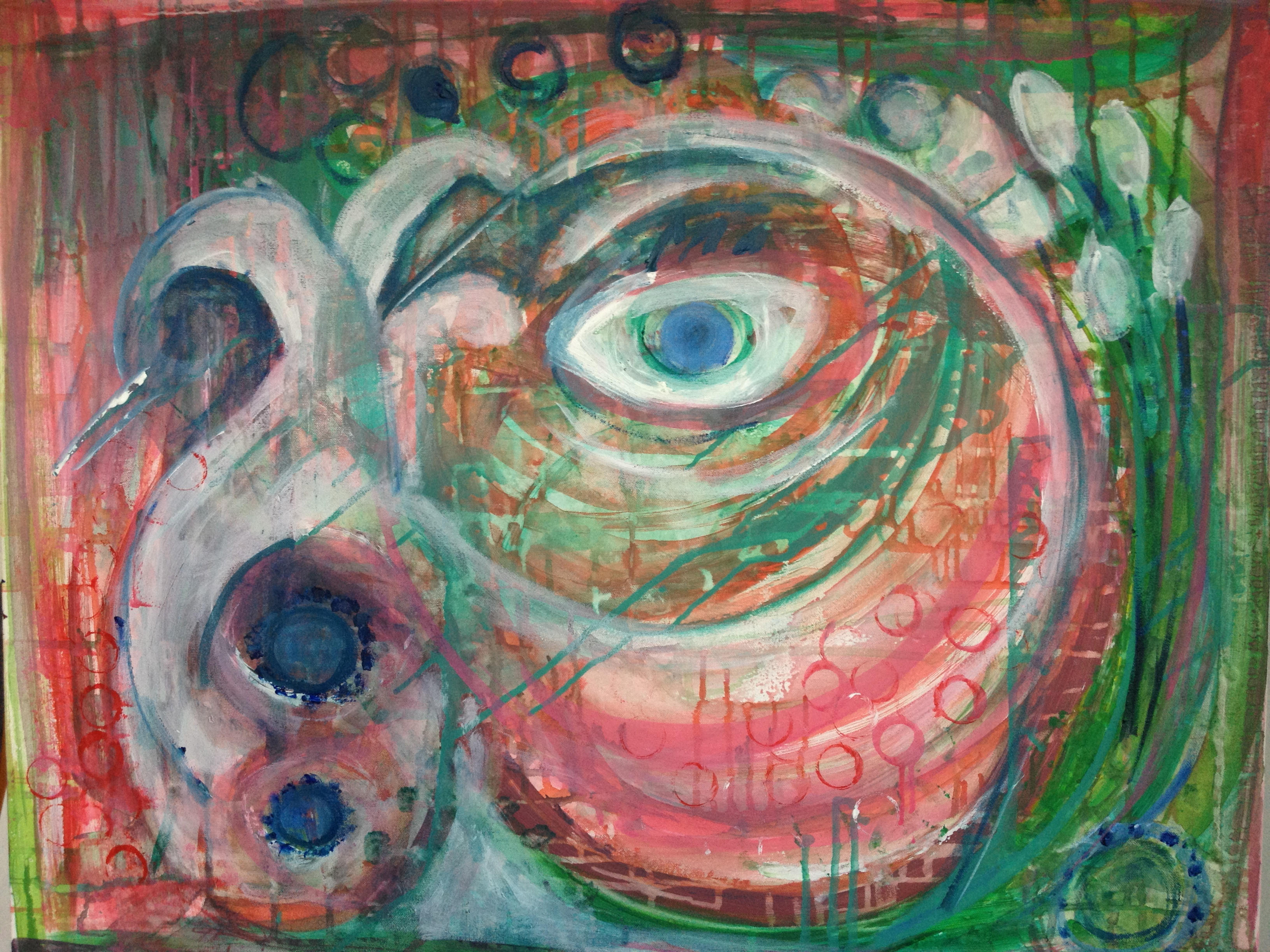 intuitive painting, in progress, process painting, art therapy
