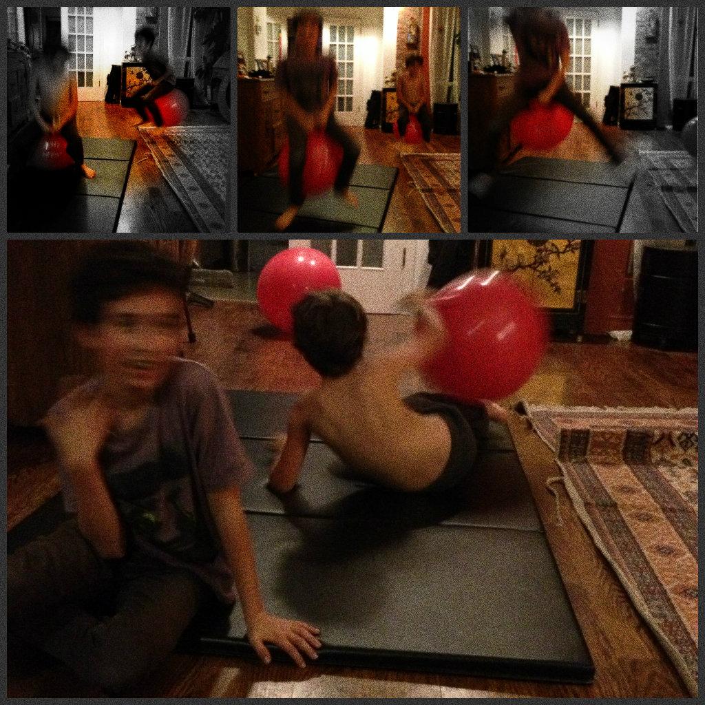 red bouncey ball, play, children