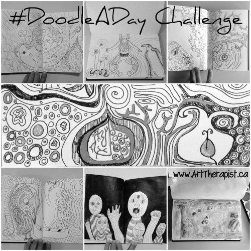 #DoodleADay 2wksCollage at ArtTherapist.ca